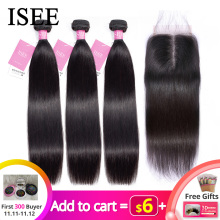 ISEE Hair-Bundles Closure Frontal Remy Malaysian with Straight