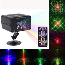 5-Hole 128 Pattern LED Disco Light RGB Laser Projection Lamp Stage Lighting Effect Stroboscope Family Party KTV