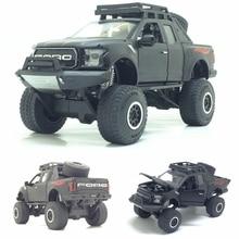 1:32 Raptor F150 пикапы металлические игрушечные машинки модель с музыкой мигающий Звук для мальчиков подарки на день рождения Бесплатная доставка