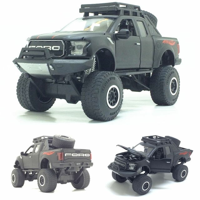 1:32 Raptor F150 טנדר משאית מתכת צעצוע מכוניות דגם עם מוסיקה מהבהב קול עבור בני יום הולדת מתנות משלוח חינם