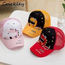 Verano niños Linda gorra de béisbol dibujo de dinosaurio casco protector de sol para niños niñas niños malla transpirable 2-4 años gorra pico