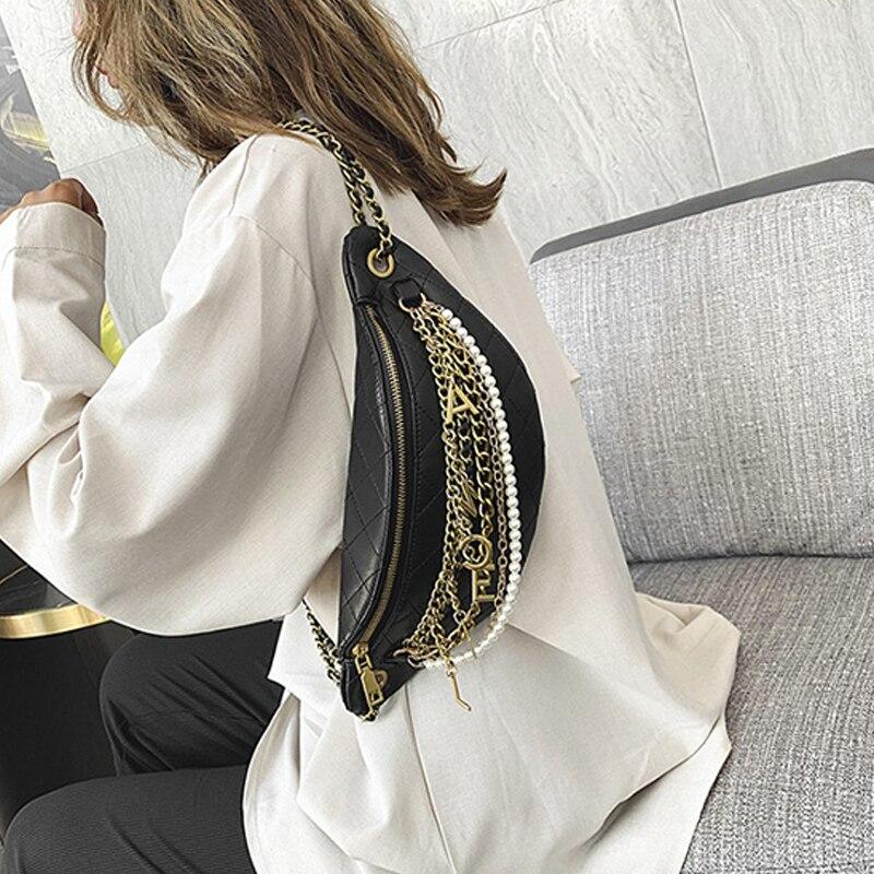 Spring Women's Bag 2020 New Fashion Waist Bag Small Fresh Rhombus Check Chain Bag Shoulder Slung Tide Korean Chest Bag