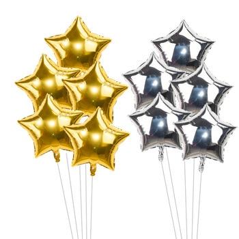 5pcs/lot 18inch Gold Silver Red Star Penta Shaped Foil Balloon Party Decoration Pentagram Globos Wedding Birthday Supplies