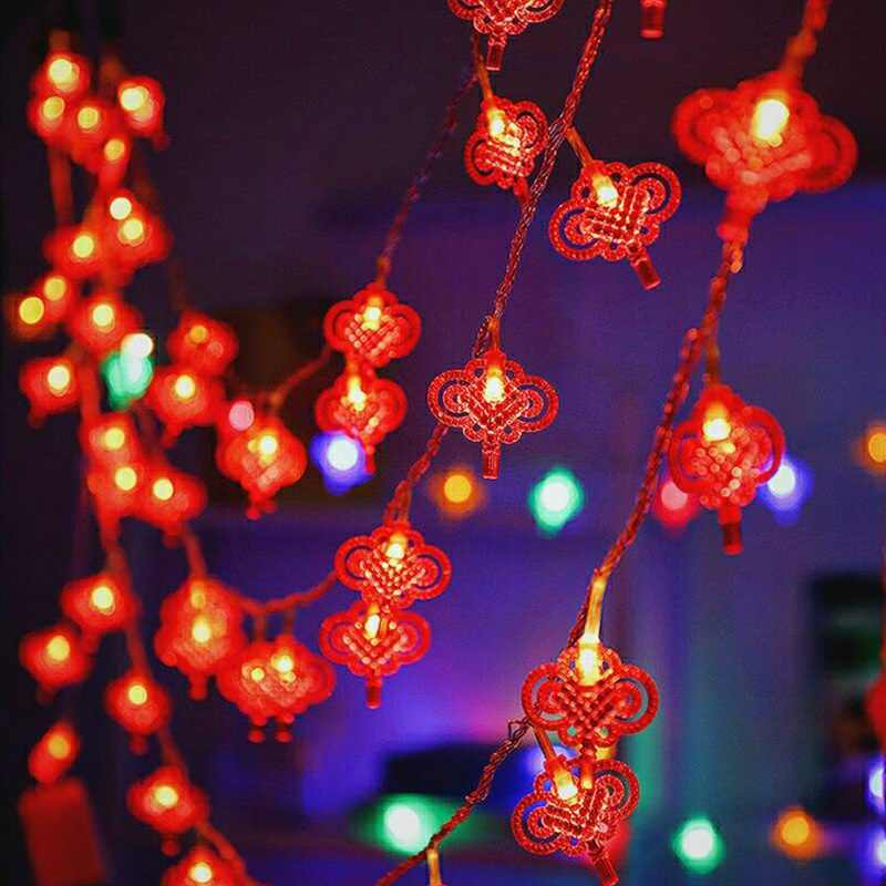 Traditional Chinese Knot Red Lantern LED String Light Christmas Battery Operated Party Supplies Chinese New Year Lights Decor