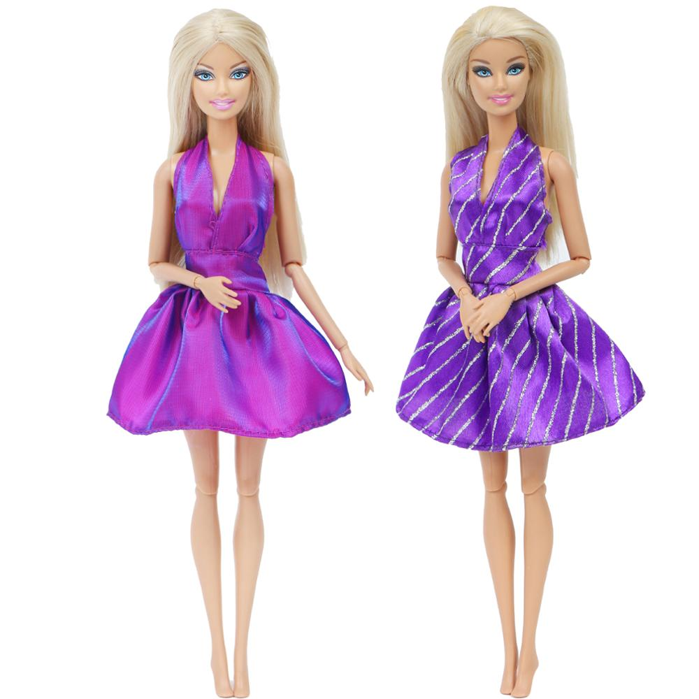 2 Set/Lot Fashion Purple Doll Dress Summer Daily Casual Wear Party Skirt Accessories Clothes For Barbie Doll Baby Girls DIY Toy