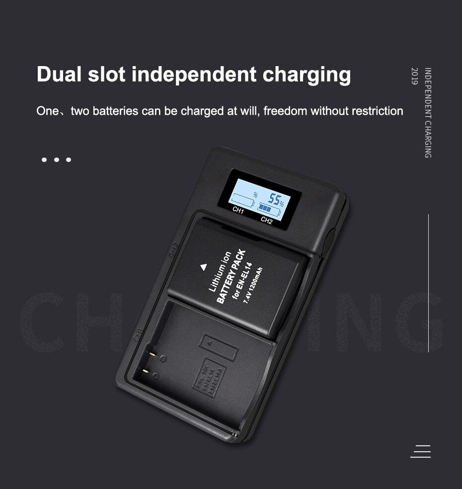 + Carregador de Bateria LCD para Nikon