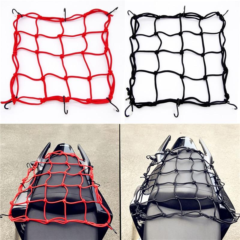 Hot sell 40*40cm Motorcycle Luggage Net Cargo Net Helmet Rope Storage Bag Twine Holder Tank Mesh  Adjustable 6 Hooks Luggage