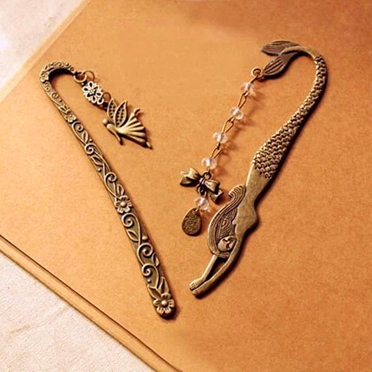 Retro Alloy Metal Bookmark Mermaid Beaded Or Angels Butterfly Fashion Vintage Bookmark