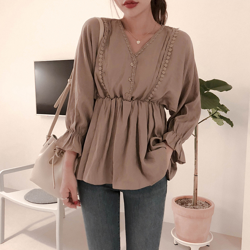 Shintimes Lace Button V-Neck Women Blouse Oversize Blouses Woman 2019 Autumn Casual Long Sleeve Ladies Tops Femme Blusas Mujer