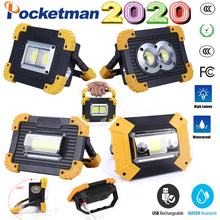 100W Super Bright Led Portable Spotlight Work Light USB RechargeableLed Latern torch use 2*18650 Or 3*AA Battery For camping