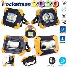 100W Super jasne Led przenośny reflektor światło robocze USB RechargeableLed Latern latarka użyj 2*18650 lub 3 * baterii AA na kemping