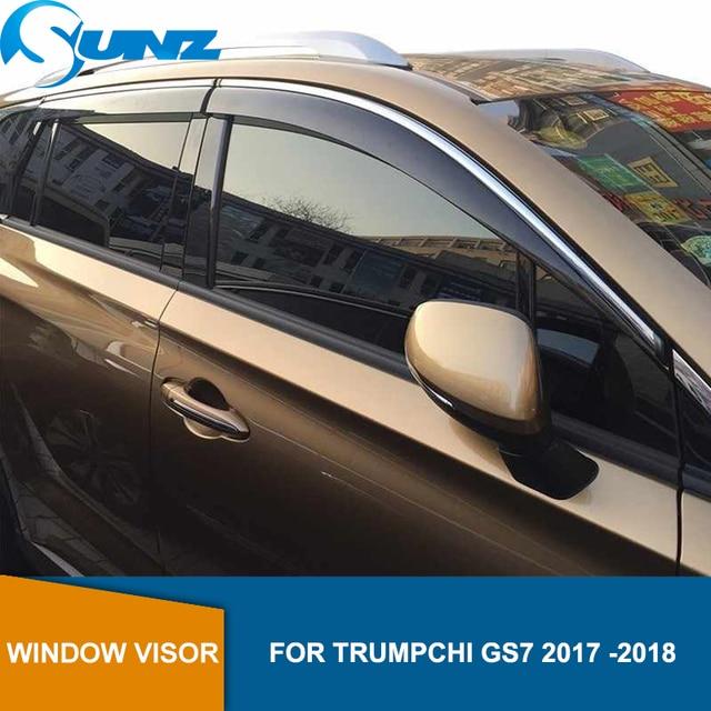 منحرف نافذة جانبي لـ TRUMPCHI GS7 2017 2018 2019 غطاء حماية نافذة حاجب للنافذة حاجب للتنفيس من الشمس واقي منحرف المطر SUNZ
