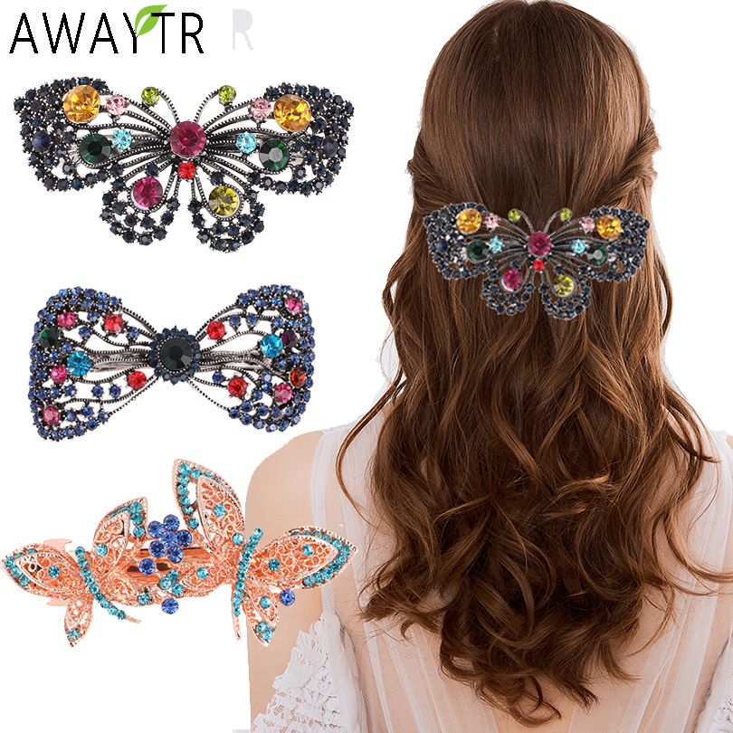 AWAYTR Women Barrettes Bow Crystal Hairpin Vintage Rhinestone Flower Hair Clip Hair Styling Bands Hair Accessories Woman Clips
