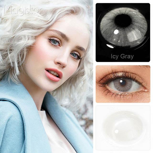 Colored Eye Contact Lenses 1 Pair Natural Green Contact Lenses, Blue Gray Eyes