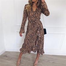 Женское шифоновое платье с длинным рукавом повседневное винтажное