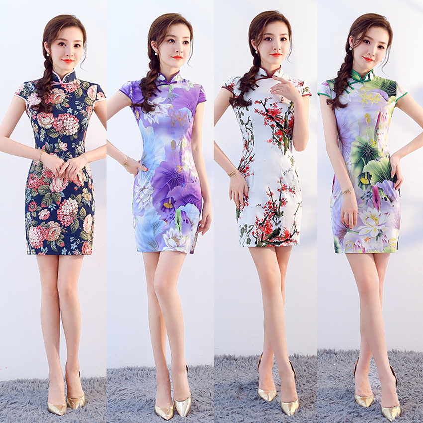 4Color Chinese Traditional Dress For Women Short Qipao Peony Lotus Chinese Style Cheongsam Party Wedding Floral Retro Dress