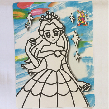 28x21cm DIY Manual King Size Color Handwork Sand Painting Picture With 9 Colorful Bottom Drawing Paint By Hand Novelty Baby Toys