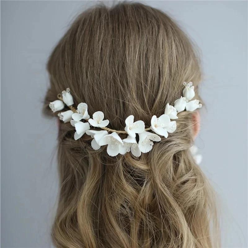 Bridal Hair Piece Wedding Flower Vine Flower Hair Pin Prom Jewelry Floral Headpiece for Bride