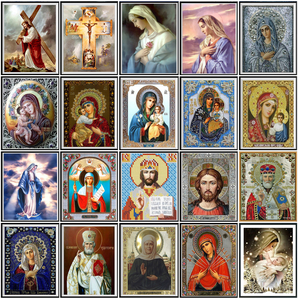 2020 New 5D Crystal Diamond Painting DIY Religious Madonna Round Diamond Embroidery Home Decoration Christmas Gift