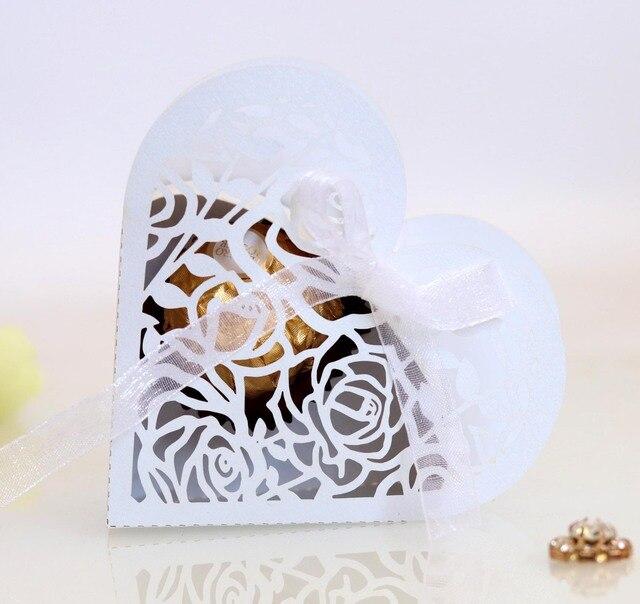Boîte à bonbons pliante en forme de cœur | Boîte ajourée en ruban pour bonbons, cadeaux pour fête de mariage, emballage de mariage