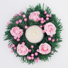 Christmas Wreath Ring Candle Holders with Artificial Flower Leaves Farmhouse Xmas Tabletop Decor