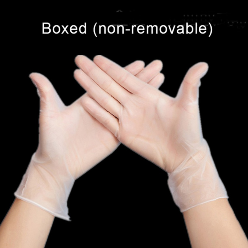 100PCS Disposable PVC Powder-free Wear-resistant Antistatic Nitrile Gloves Protective Gloves Transparent Durable