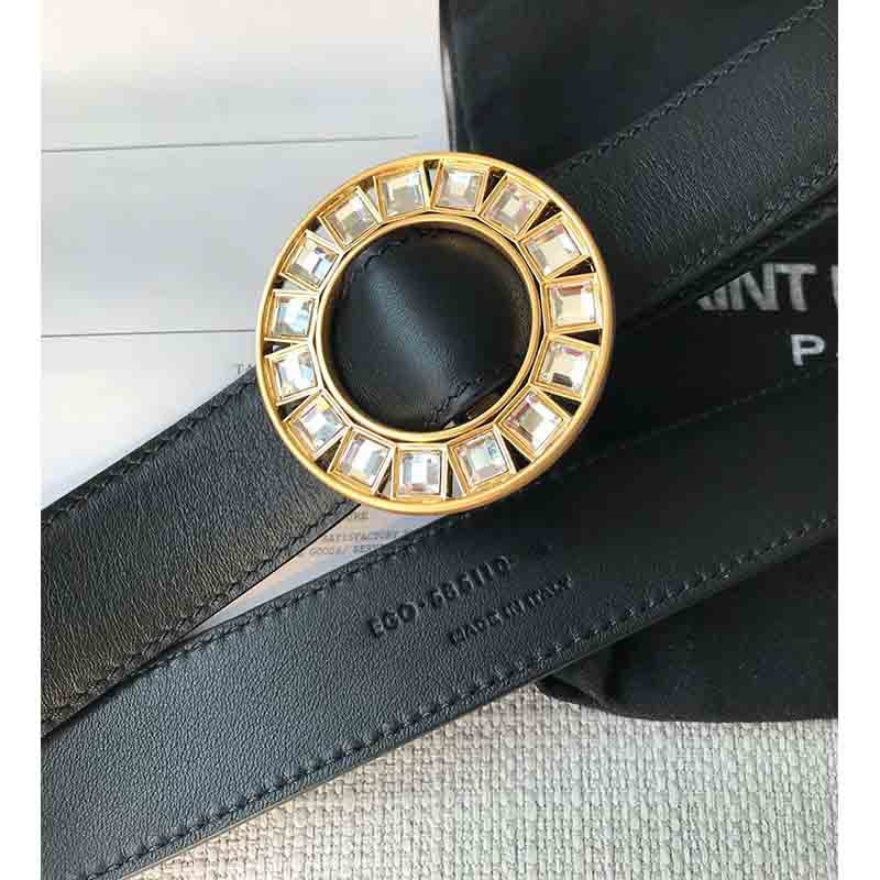 Cosmicchic 2020 Women Luxury Belts Rhinestone Golden Buckle Cowskin Leather Waist Belt Fashion Designer Vintage Belt