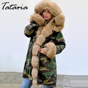 Image 4 - سترة نسائية من Tataria شتوية دافئة وسميكة بغطاء للرأس معاطف عسكرية للنساء جاكيت بياقة من الفرو الصناعي للنساء جاكيت من المخمل
