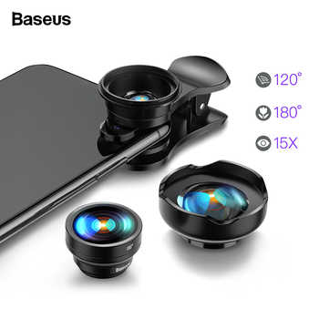 Baseus Mobile Phone Lens Wide Angle Fish eye Fisheye 15X Macro Camera Lens For iPhone Xs Max Xr X Samsung S10 S9 Huawei P30 Pro - DISCOUNT ITEM  25% OFF All Category