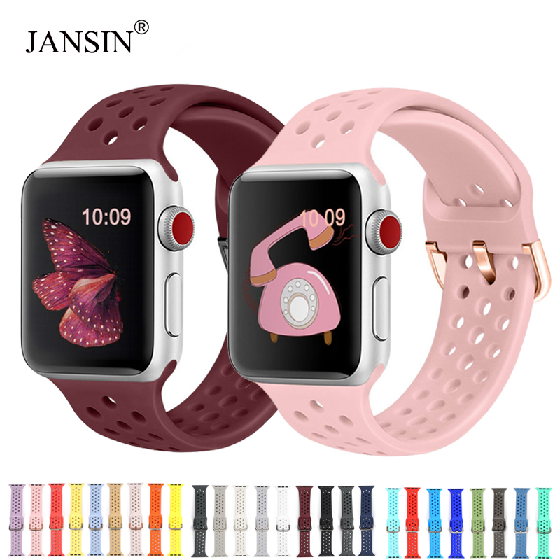 New Watch Band For Apple Watch Band 38mm 42mm 40mm 44mm Soft Silicone Sport Breathable Strap Bracelet For IWatch Series 4 3 2 1