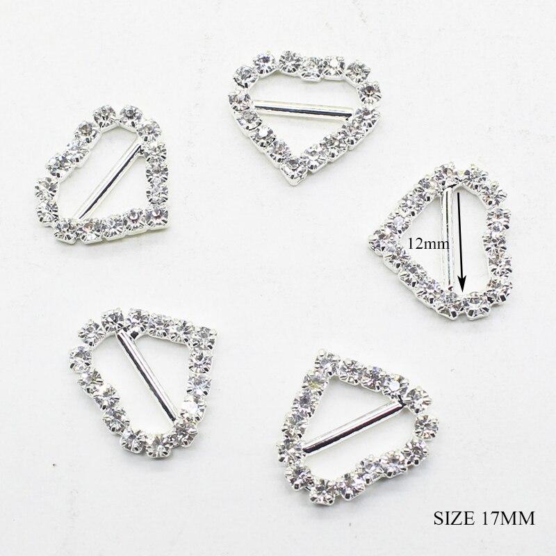 50pcs Crystal Buckle Heart Rhinestone Charming Heart Buckle Slider Wedding Décor
