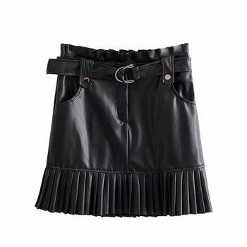 Stylish Chic Pu Leather Mini Skirt with Belt Za Fashion Women High Waist Pleated Hem Skirts Casual Streetwear Party Faldas 1
