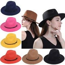 Sombrero de fieltro de ala ancha Vintage clásico para mujer sombrero de fiesta de graduación de primavera invierno negro naranja amarillo caqui