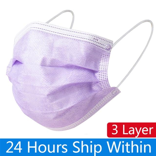 10pcs/200pcs Purple 3-Layer Mask Mouth Non Woven Disposable Masks Meltblown Cloth Masks Earloops Masks