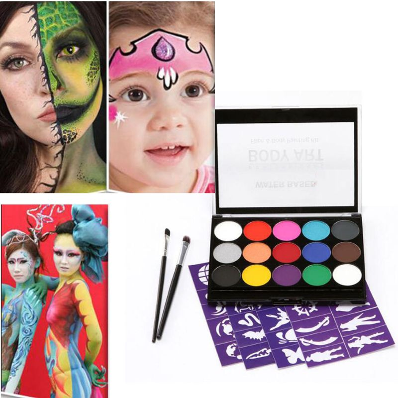 15 Color Non-Toxic Professional Palette Kids Body Party Face Painting Makeup Kit Pigment Powder