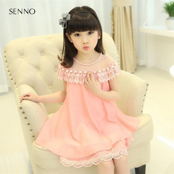 2019 Summer Girls Kids Lace Pearl Voile Chiffon Dress Baby Children Clothes Infant Party Dresses 5 6 7 8 9 10 11 12 13 years
