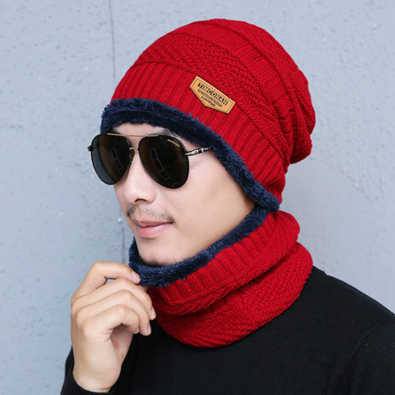 2 Pcs Warmer Bonnet For Men Women Knitted Hat Beanies Scarf Sets Soft Casual Neck Warmers Winter Fashion Accessories Unisex