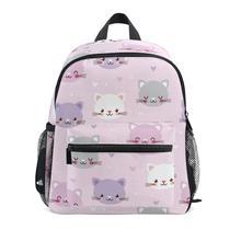 PINK Cartoon Children Backpack For Girls Cat Pattern Backpacks Orthopedic School Bags Student kids Fold Satchel Mochila Infantil