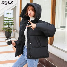 Winter Coat Parkas Short Hooded Female Black Autumn Women Cotton Red New ZQLZ Casual