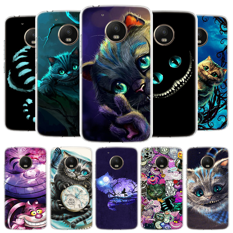 Alice In Wonderland Cat Cover Phone Case For Motorola Moto G8 G7 G6 G5S G5 E4 Plus G4 E5 E6 Play Power One Action EU Gift Shell