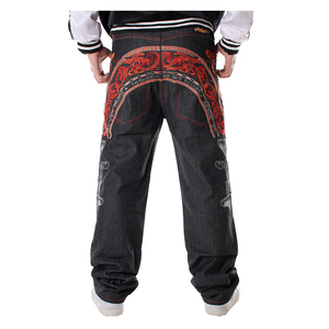 Image 1 - Sokotoo Mens hip hop jeans Cool personality embroidery loose pants Denim streetwear long trousers male