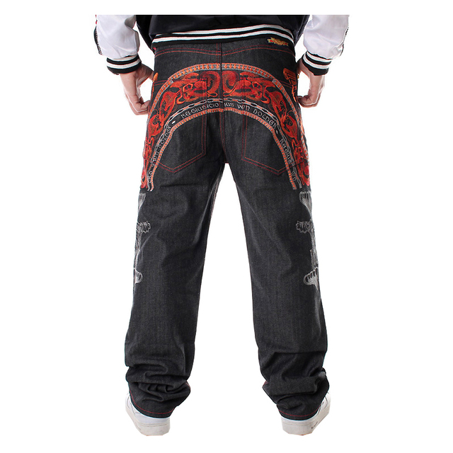 Sokotoo Mens hip hop jeans Cool personality embroidery loose pants Denim streetwear long trousers male