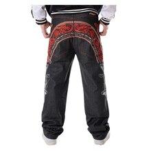 Sokotoo calças de brim hip hop dos homens legal personalidade bordado calças soltas denim streetwear calças compridas masculino