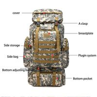 80L Large Camo Rucksack Backpack Hiking Tactical Military Camping Survival Gear Y51D
