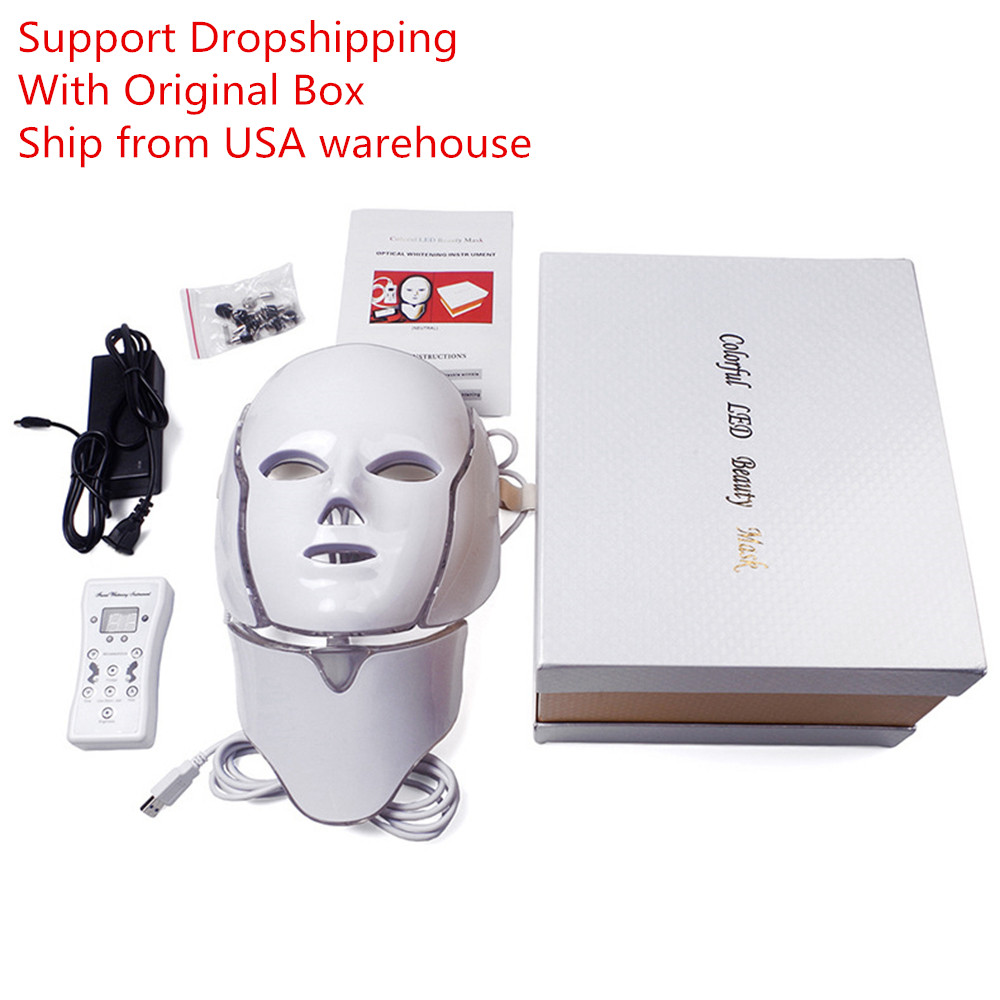 LED Mask For Face Neck EMS Micro-current Anti Wrinkle Acne Removal Skin Rejuvenation Photon Electric Facial Mask Beauty Machine