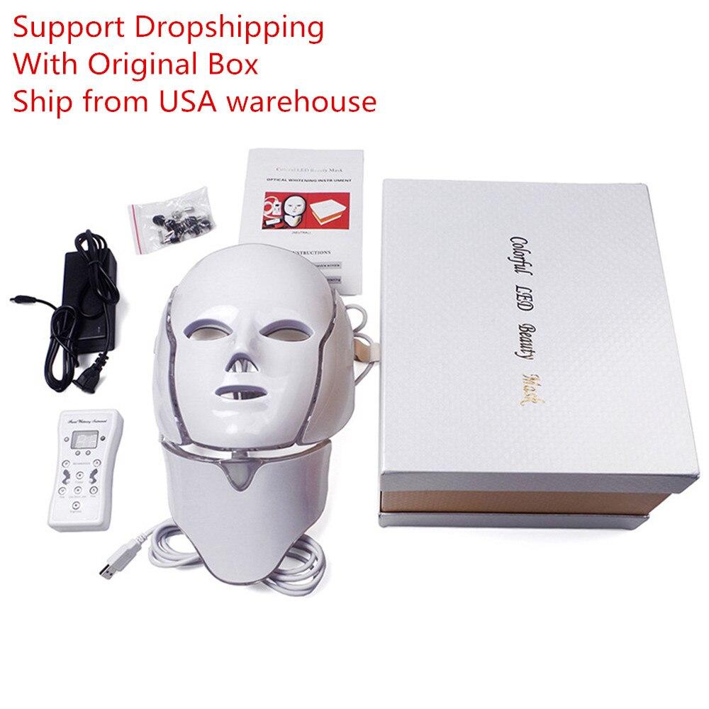 LED Maske Für Gesicht Hals EMS Micro-strom Anti Falten Akne Entfernung Haut Verjüngung Photon Elektrische Gesichts Maske Schönheit maschine