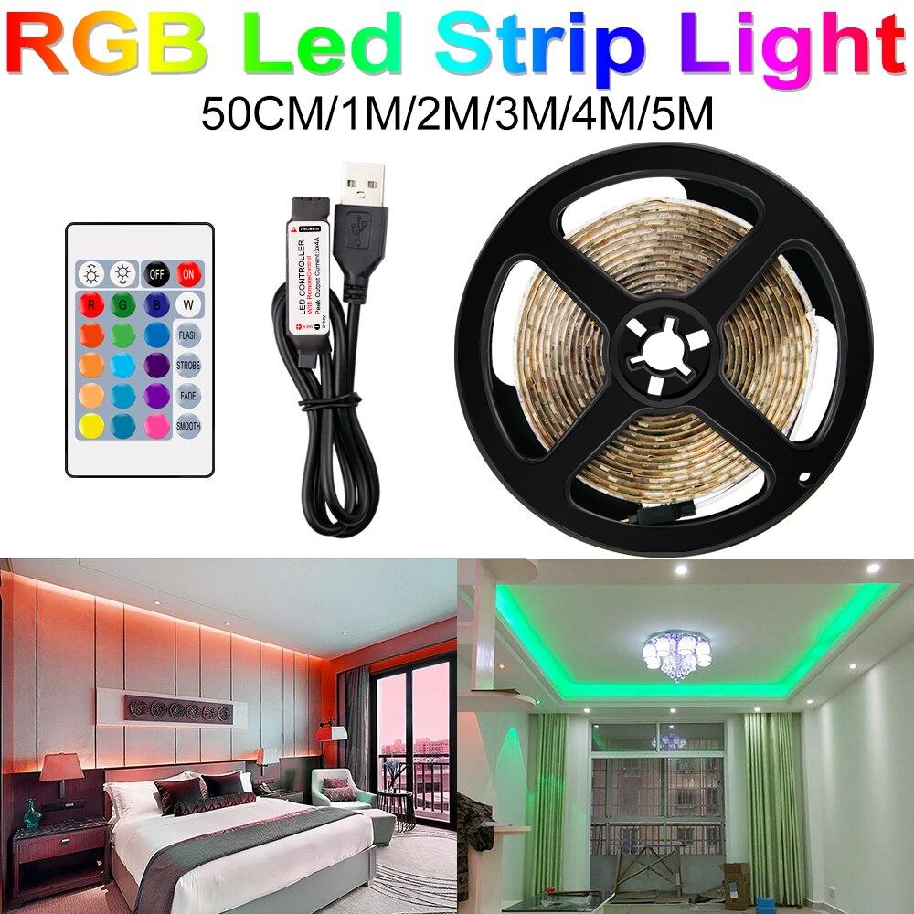 Ambilight-TV bande LED usb lumière Flexible Tira LED RGB SMD 2835 DC5V 50CM 1M 2M 3M 4M 5M télécommande + adaptateur LED bandes de pixels