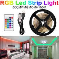 Ambilight-TV USB LED Luz de Tira Flexible Tira LED RGB SMD 2835 DC5V 50CM 1M 2M control remoto 3M 4M 5M + adaptador de tiras de píxeles LED