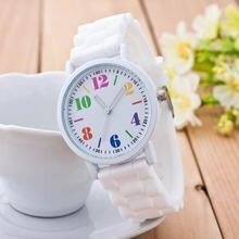 Модные кварцевые часы для женщин роскошный белый с силиконовым