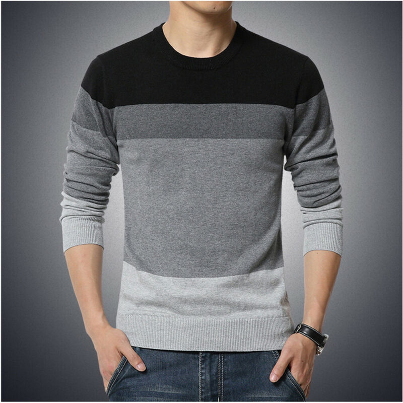 3 Colors Autumn Winter Men's Casual Round Neck Striped Knit Sweater Male Basic Style Knitwear High Quality Pullovers Plus Size
